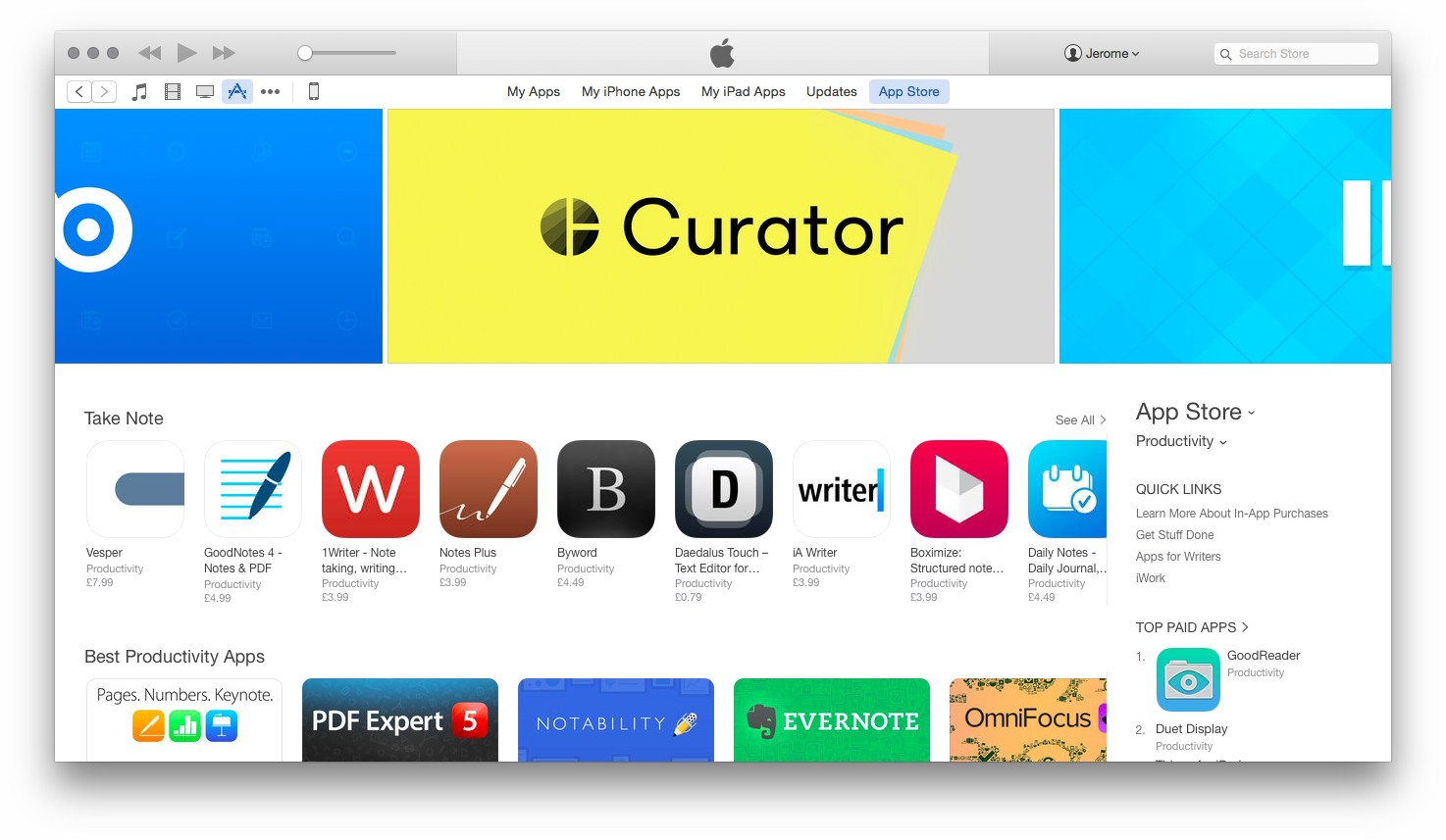 Curator app, on the App Store