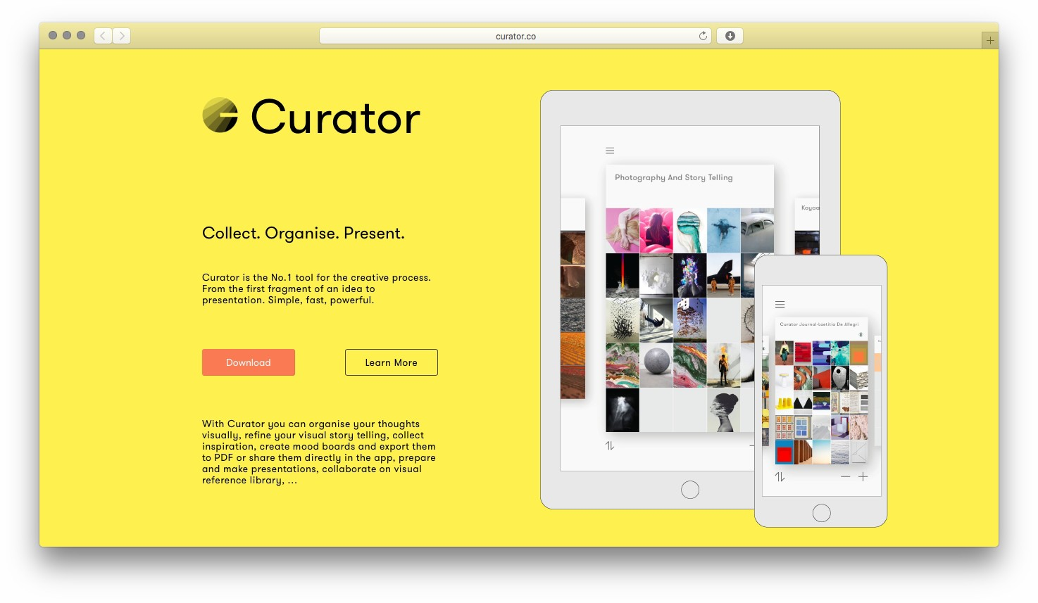Curator & Co, website homepage
