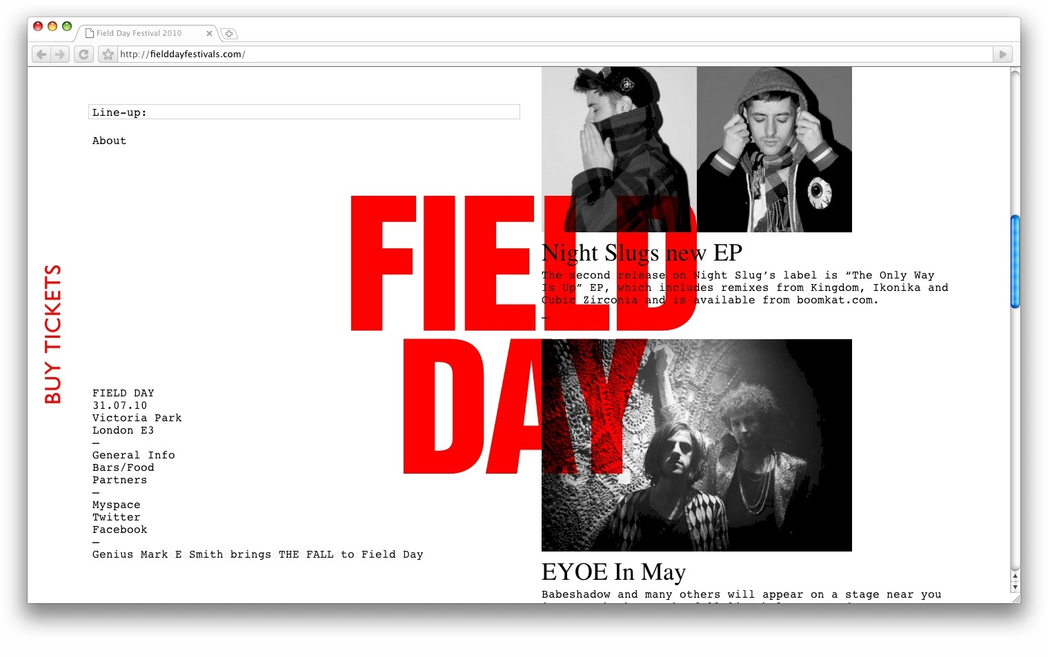 Field Day Festival website, in collaboration with Mon Frere agency